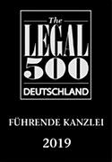 Logo Legal 500 2019 WIRTSCHAFTSKANZLEIEN